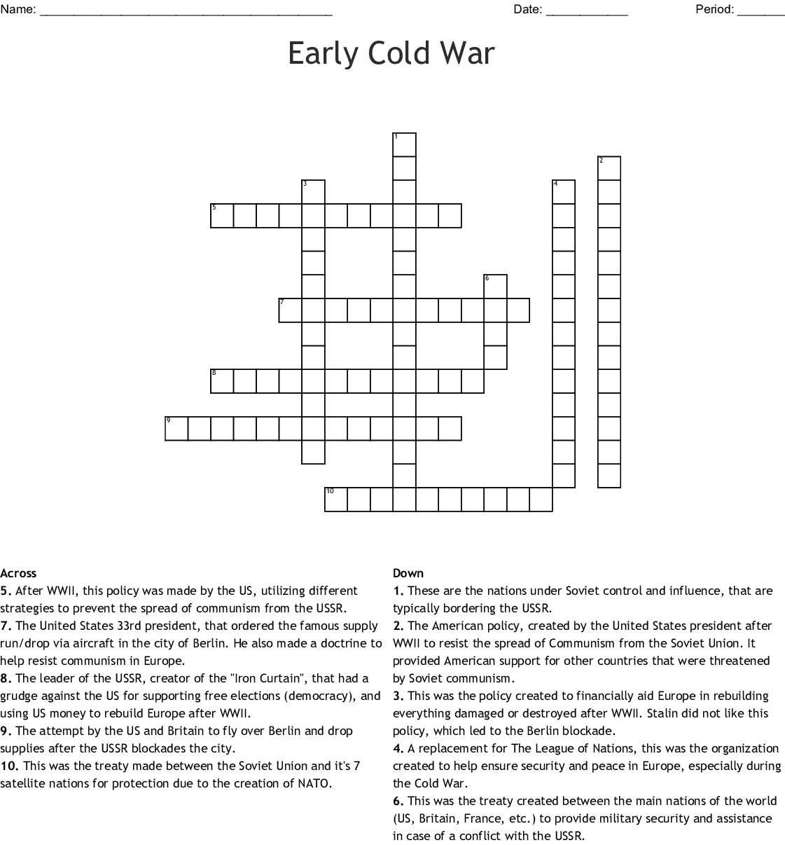 John F Kennedy Crossword