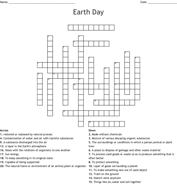 Earth Day 2018 Word Search - WordMint