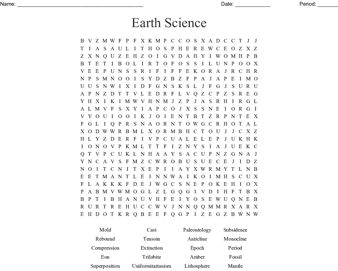 Earth Science Word Search Key