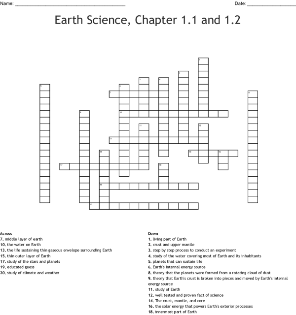 Earth's Spheres Word Search - WordMint