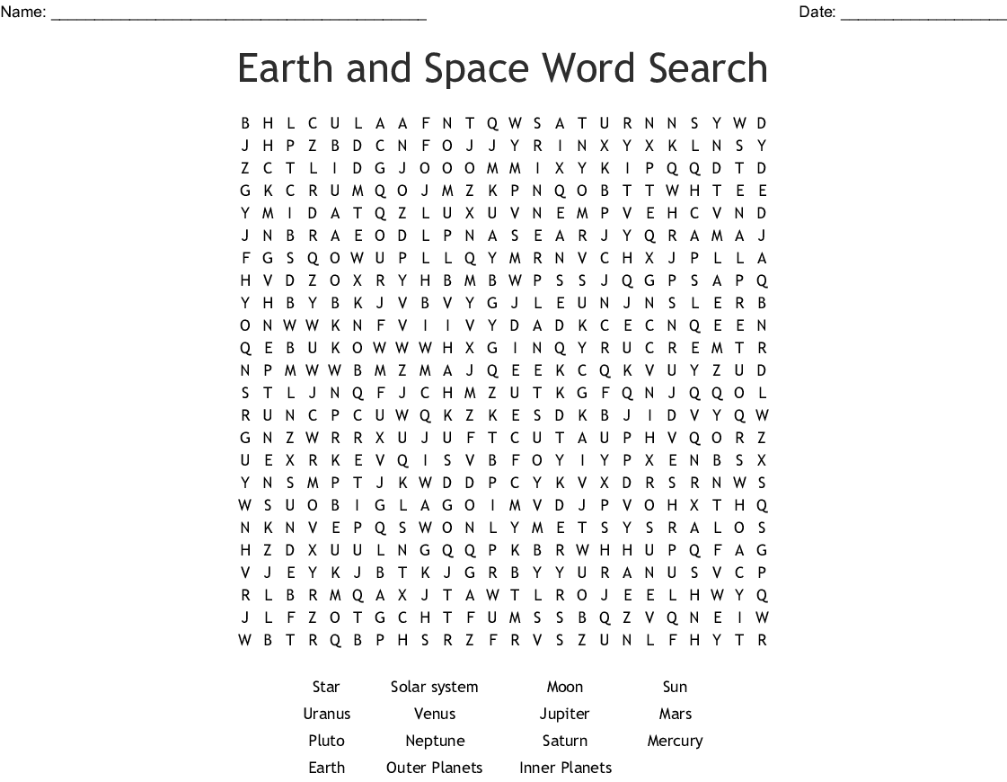 Earth And Space Word Search