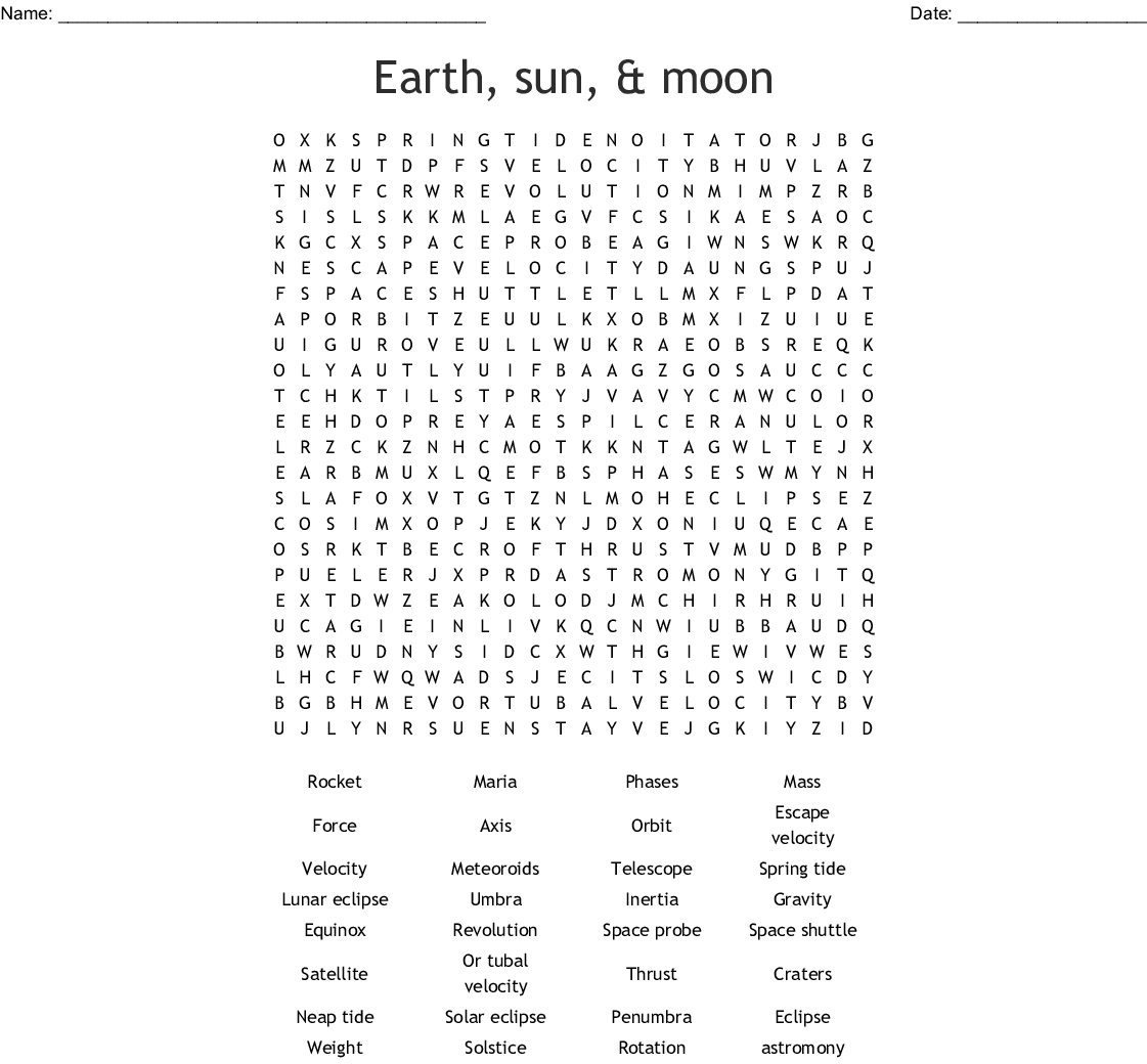 Earth In Space Crossword