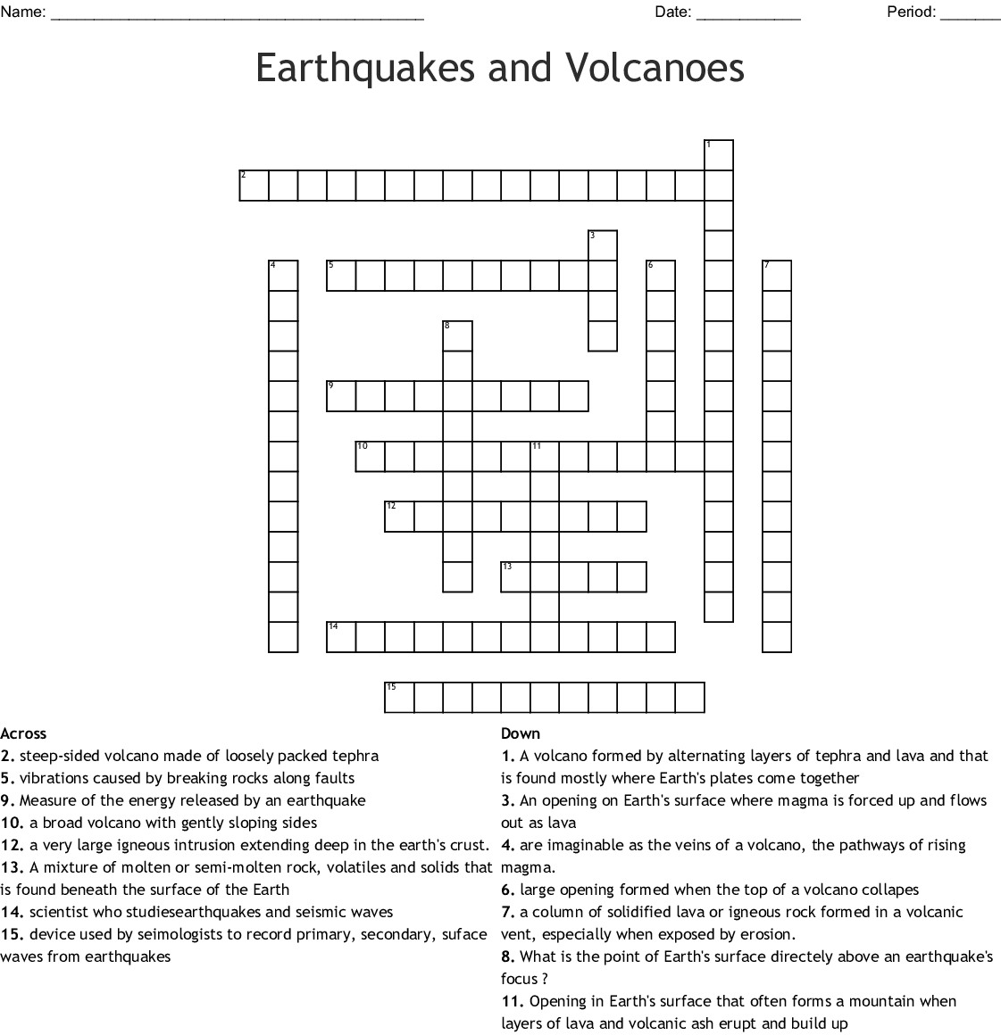 Earthquakes And Volcanoes Crossword