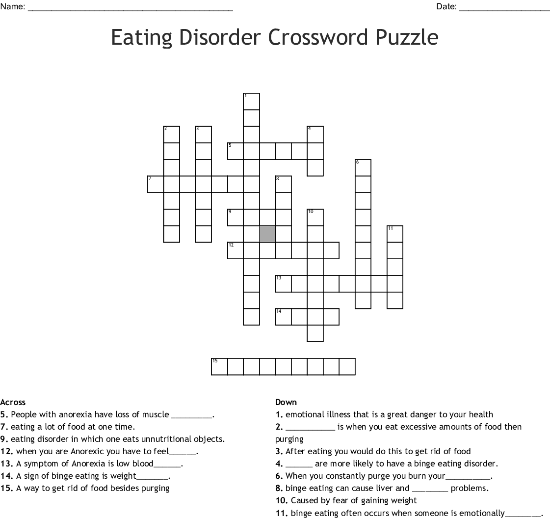 Eating Disorder Crossword Puzzle