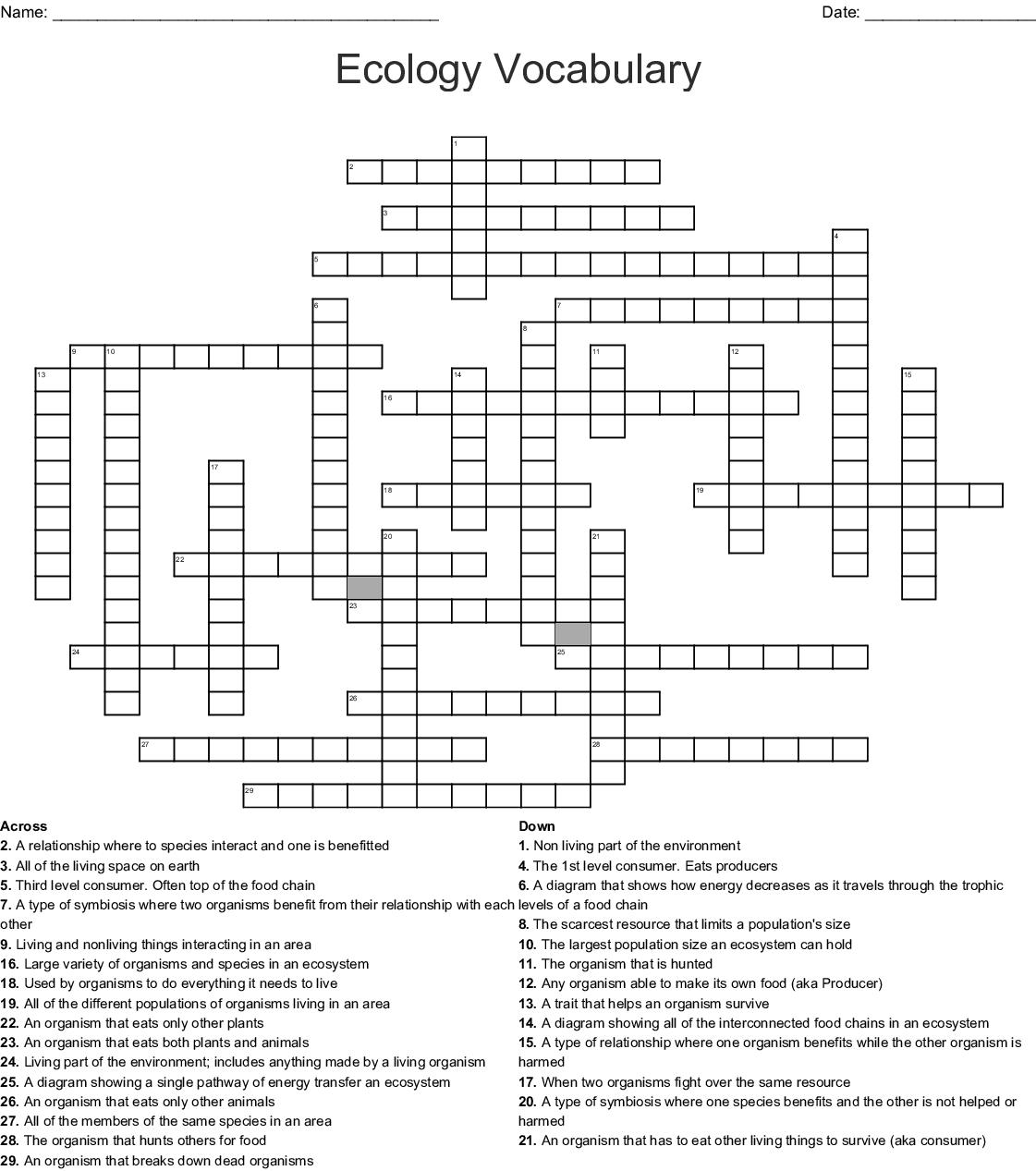 Ecology Vocabulary Crossword