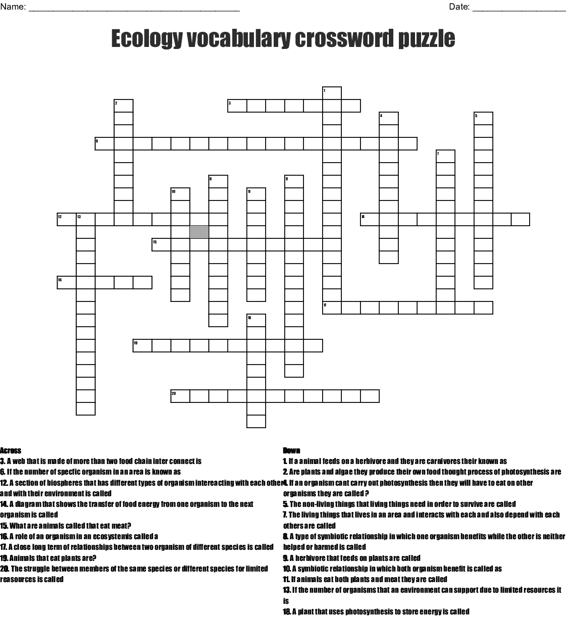 Ecology Puzzles And Worksheet