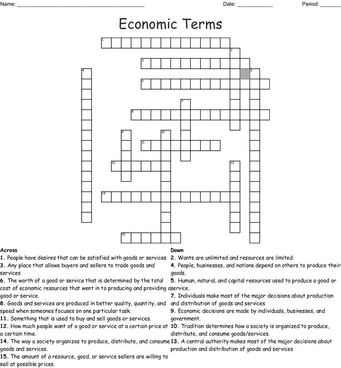 Economics Chapter 1 And 2 Crossword Puzzle