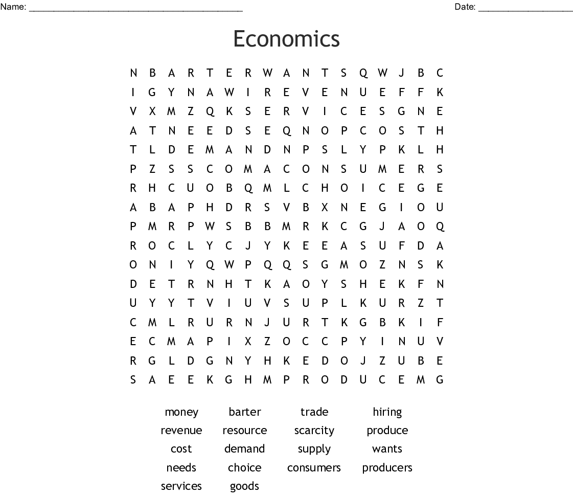 Economics Word Search