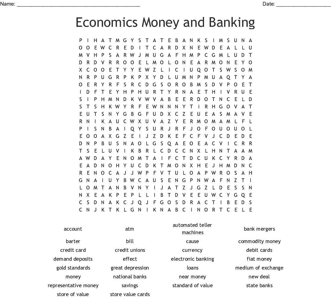Economics Money And Banking Word Search