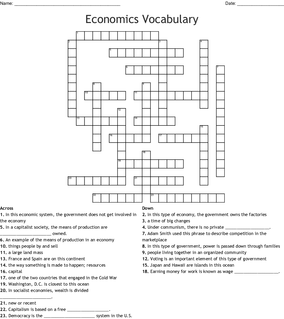 Economics Crosswords Word Searches Bingo Cards