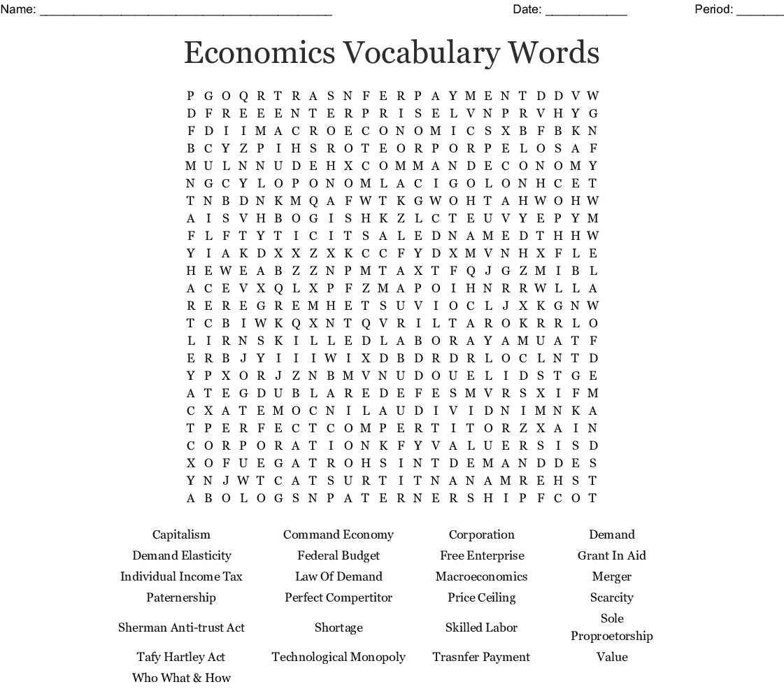 Economics Vocabulary Words Word Search