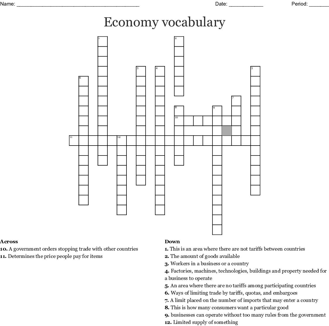 Economy Vocabulary Crossword