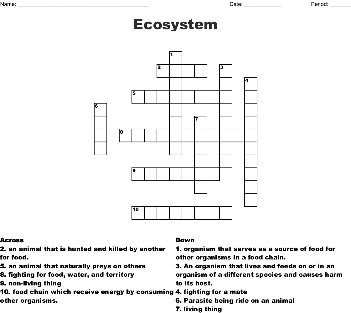Answer Key Ecosystem Crossword Puzzle