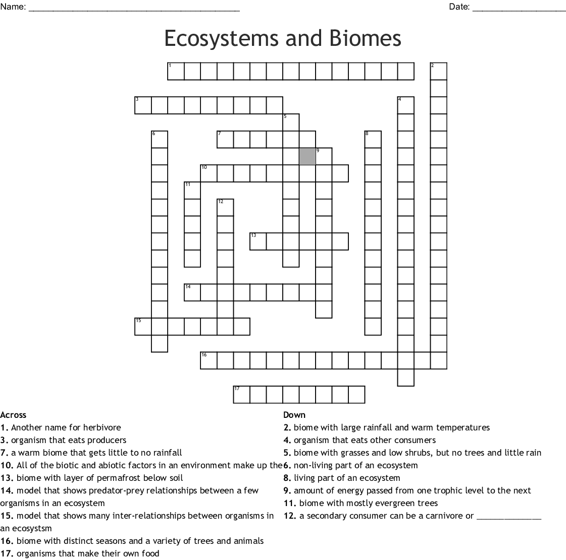 Ecosystems And Biomes Worksheet Answers
