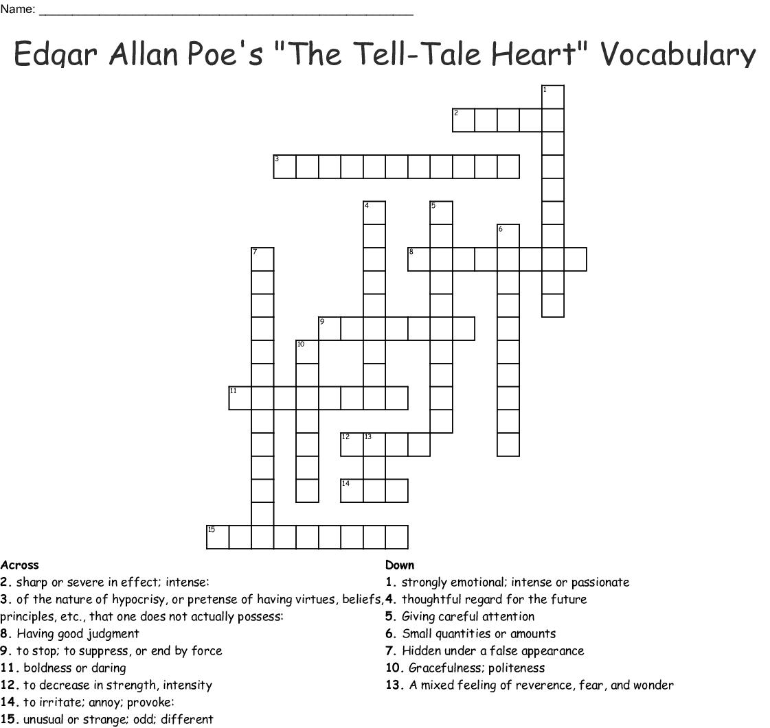 Tales Of Edgar Allan Poe Word Search
