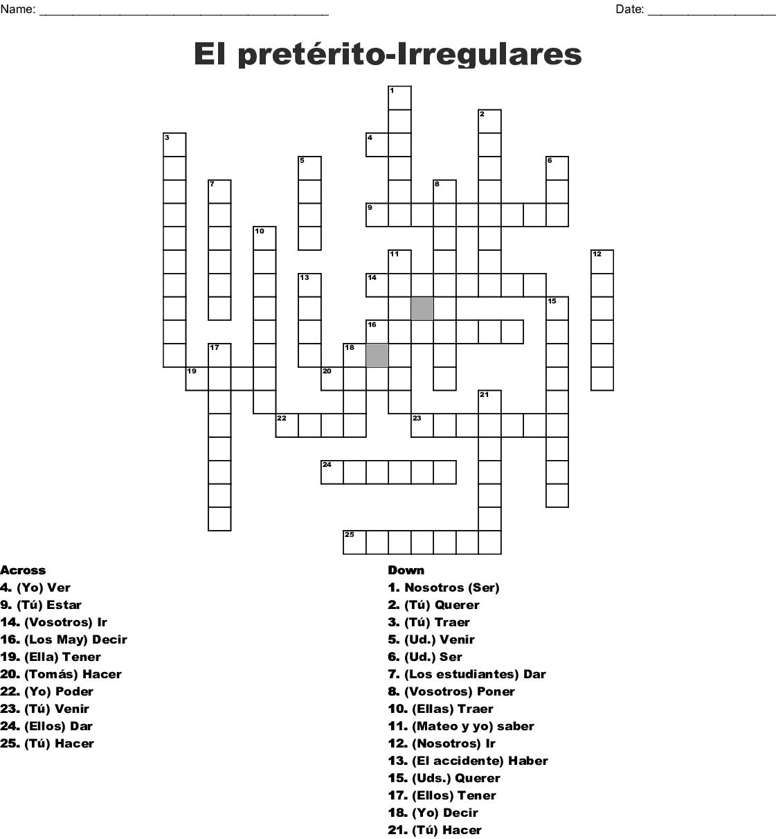 Los Verbos Irregulares Crossword