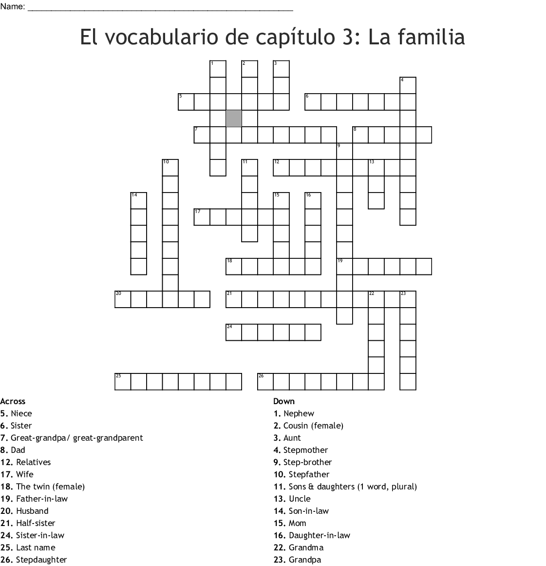 Mi Familia Crossword