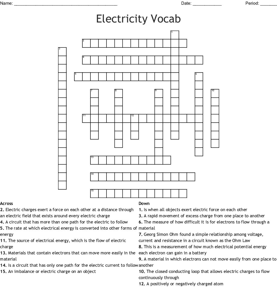 Electricity Crossword