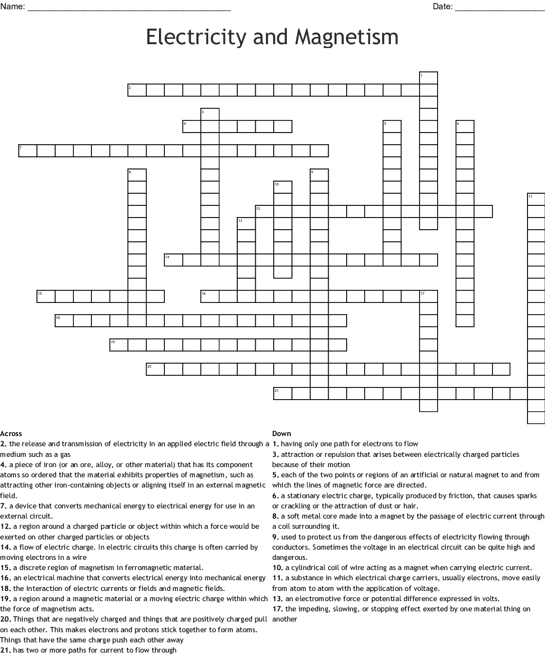 Electrostatics Crossword