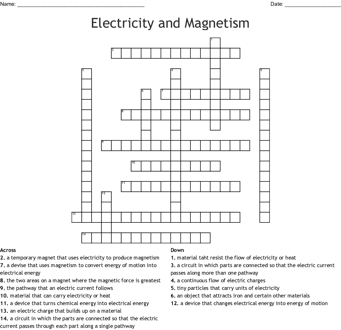 Activity Electric Charge And Current Crossword Puzzle