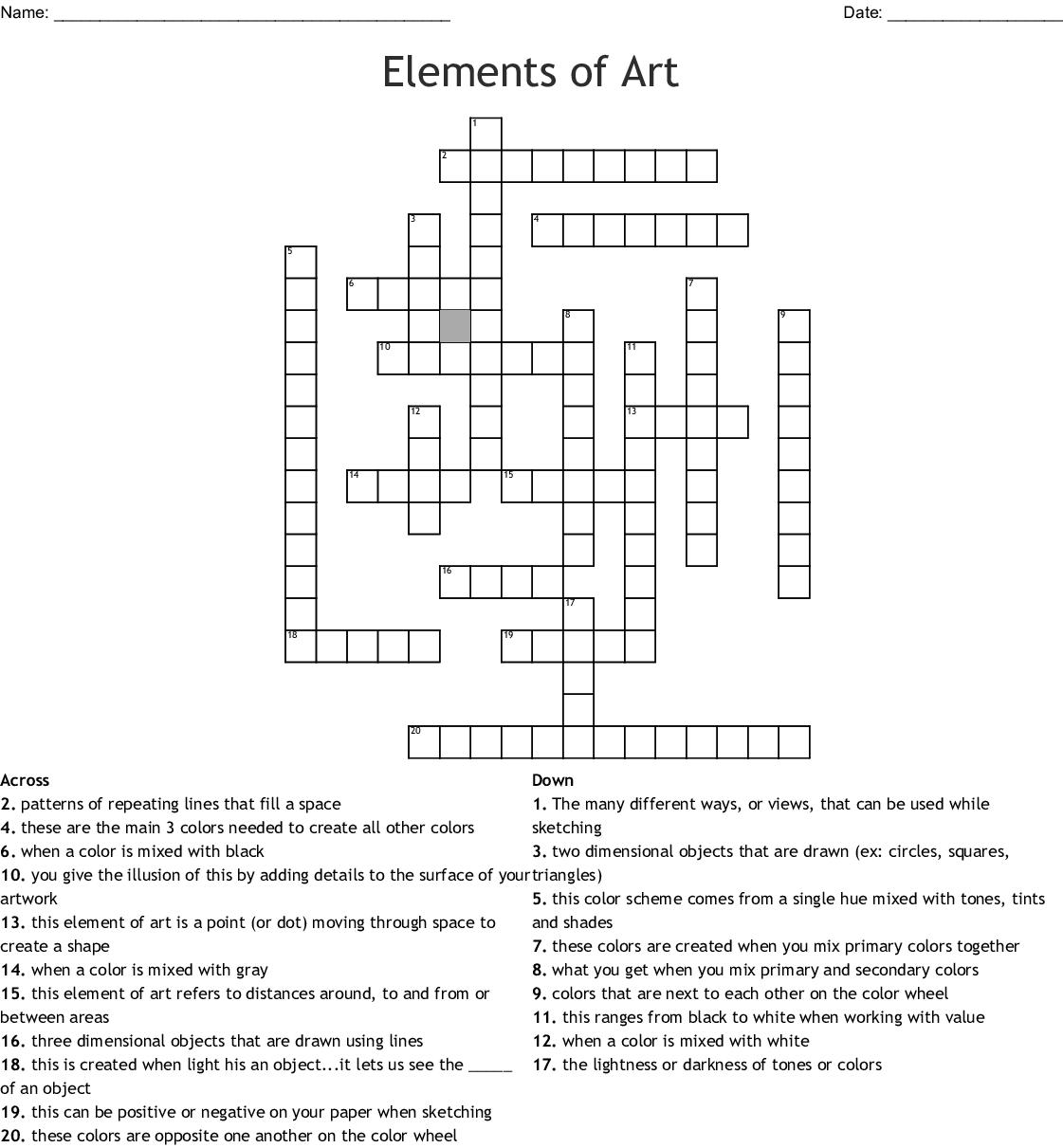 Elements Of Art Crossword