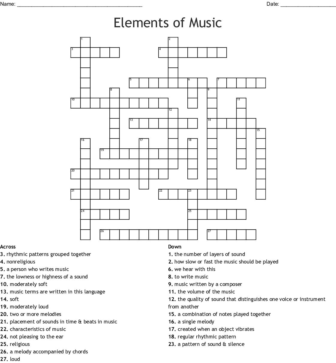 Music Amp Audio Crosswords Word Searches Bingo Cards