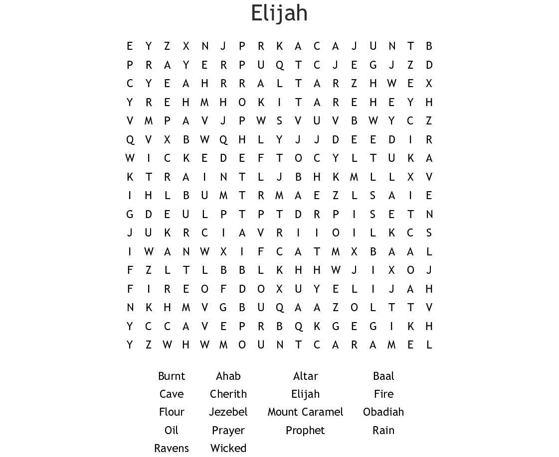 Elijah Word Search