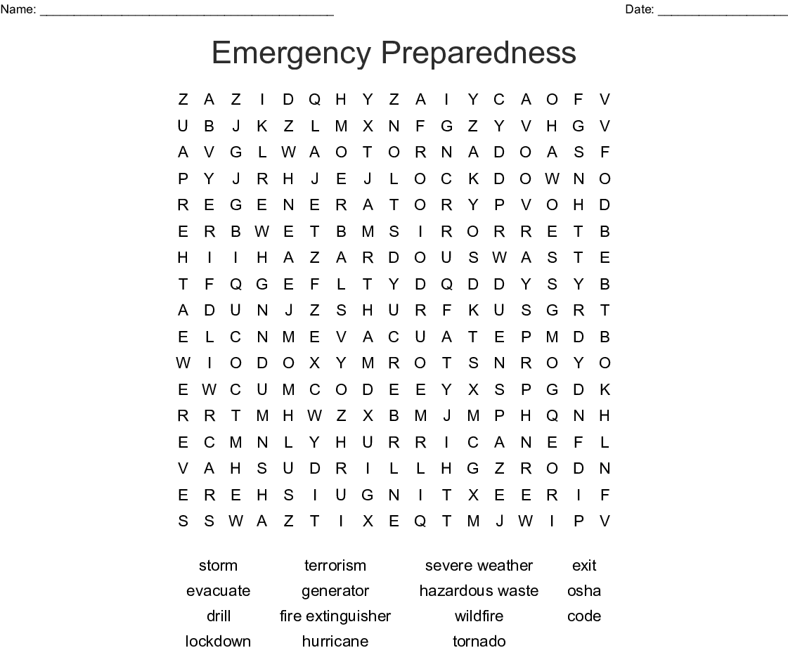 Workplace Safety And Emergencies Word Search