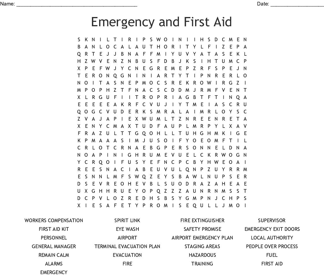Emergency Services Crosswords Word Searches Bingo Cards
