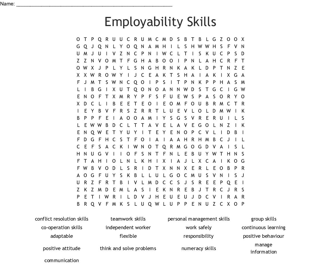 Employability Skills Crossword
