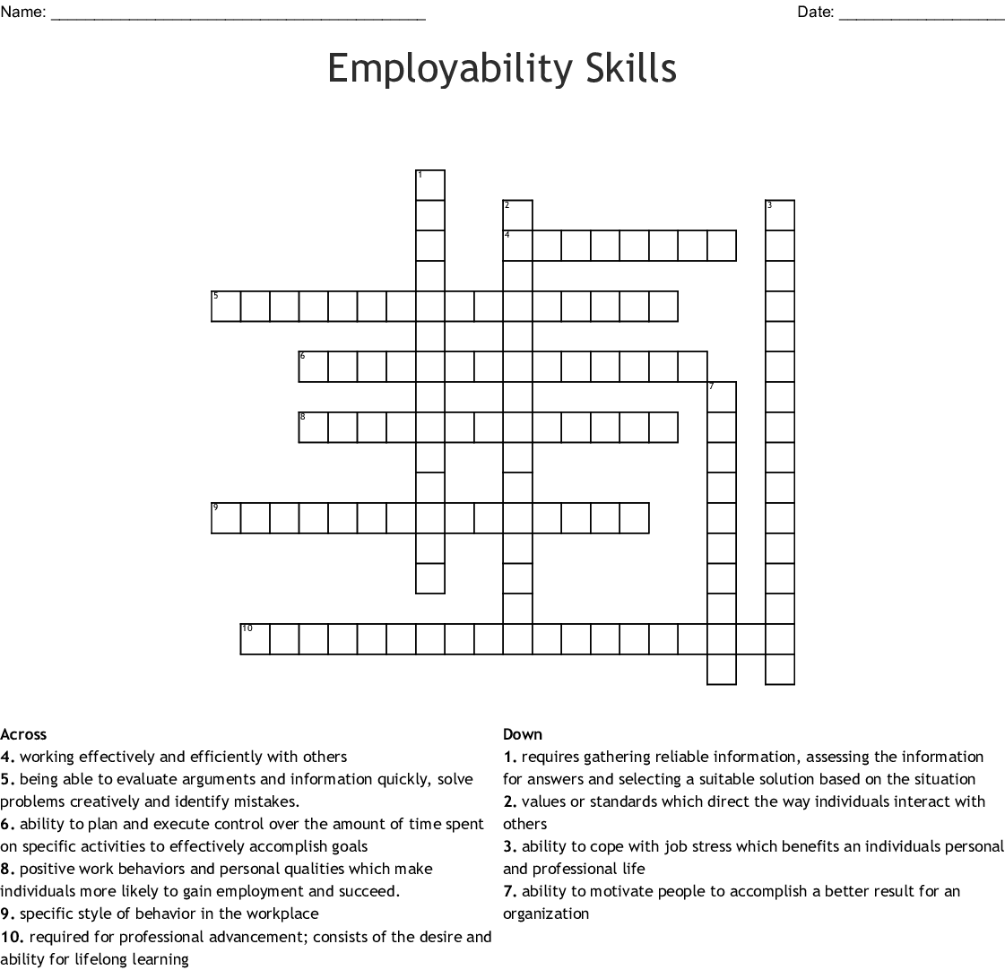 Year End Vocabulary Crossword