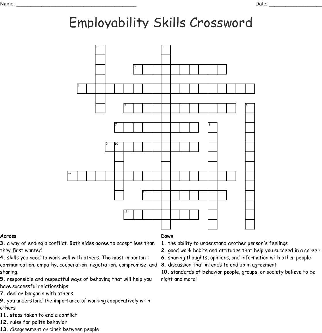 Healthy Relationships Crossword