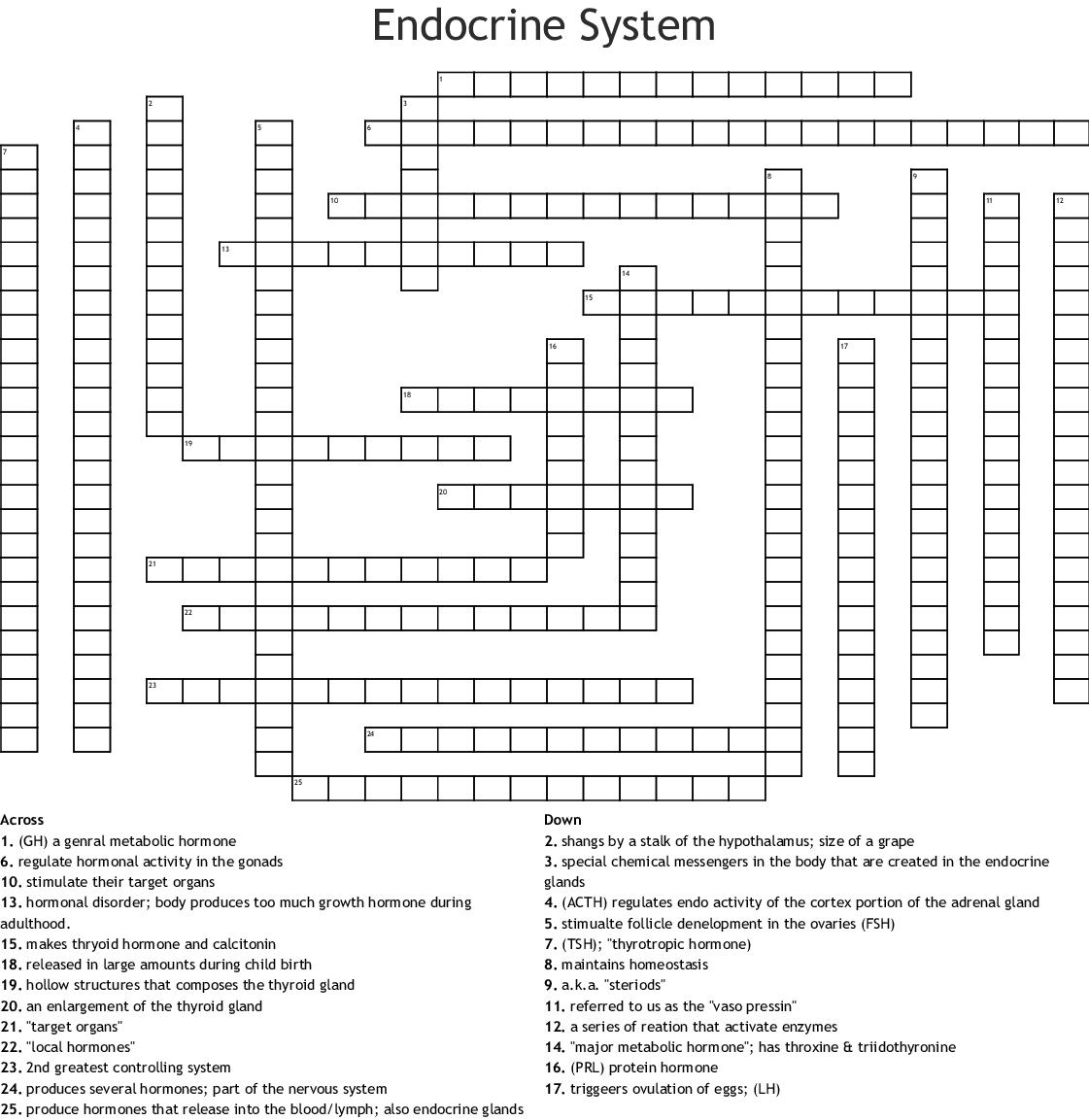 Endocrine System Crossword