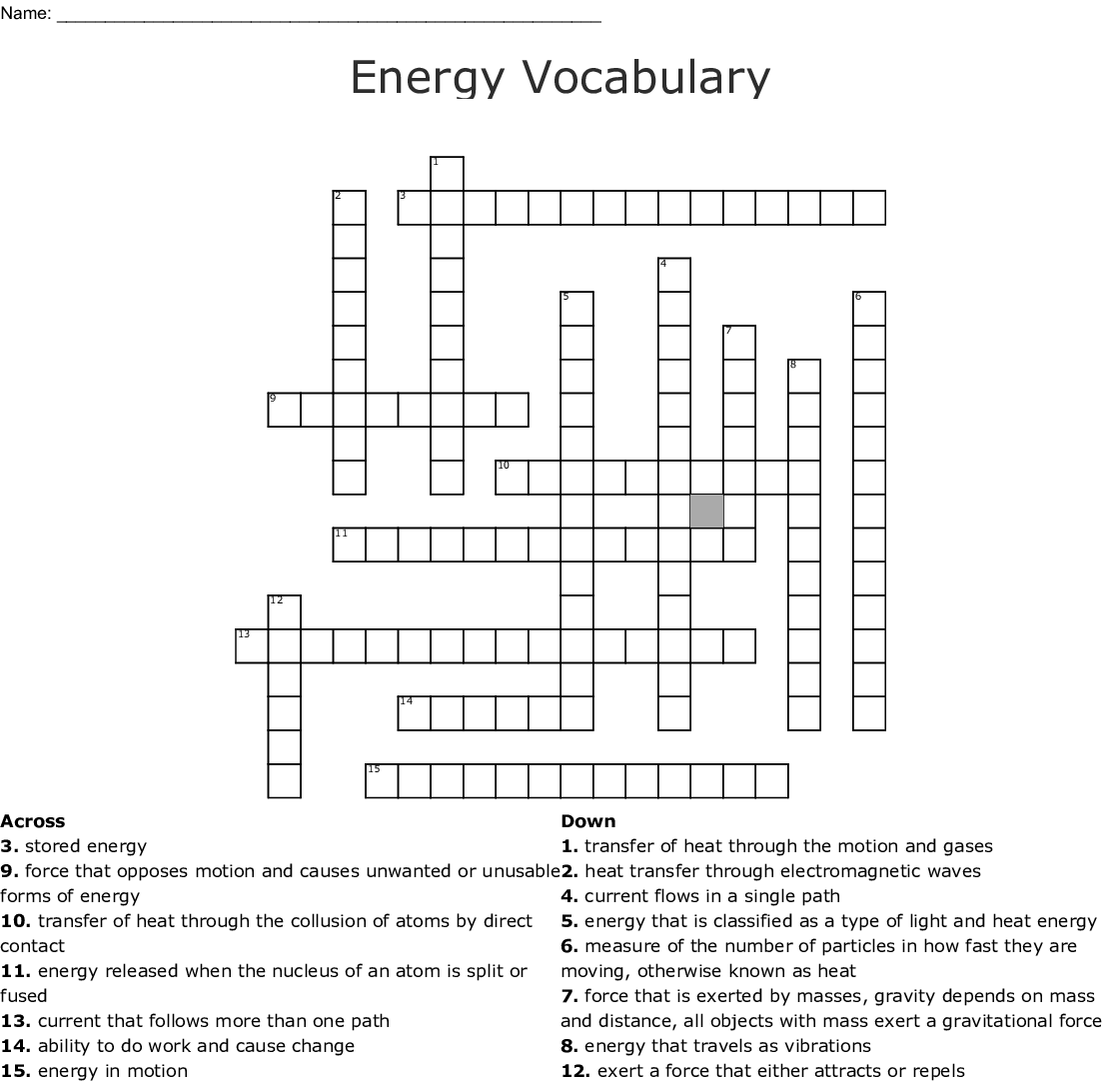 Printables Of Energy Vocabulary Worksheet Answer Key
