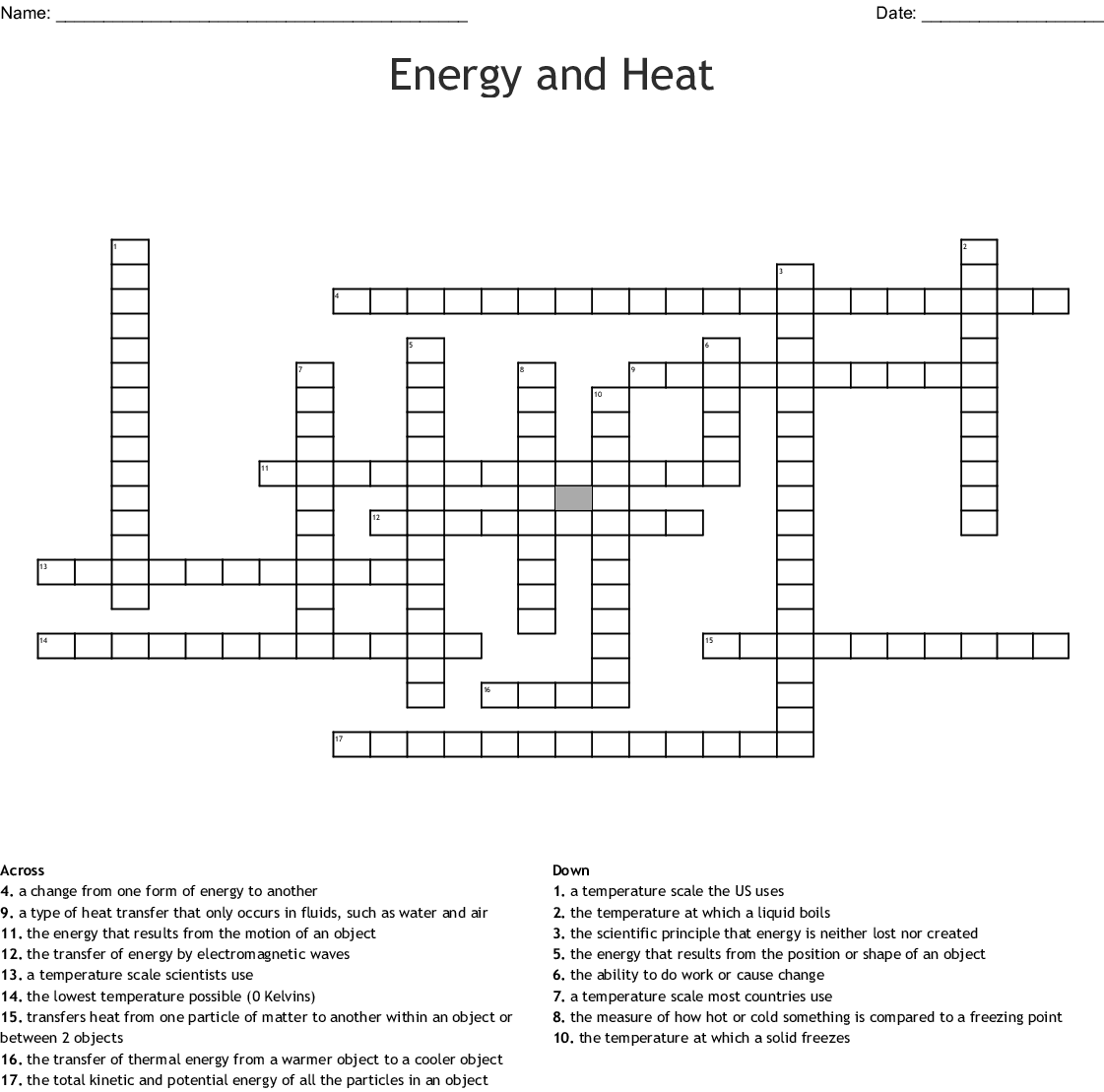 Heat And Energy Crossword