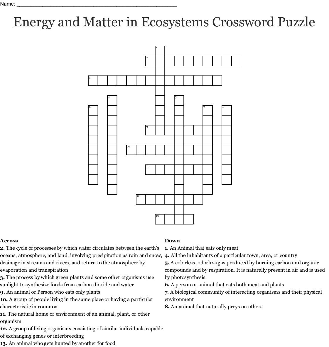 Energy And Matter In Ecosystems Crossword Puzzle Crossword