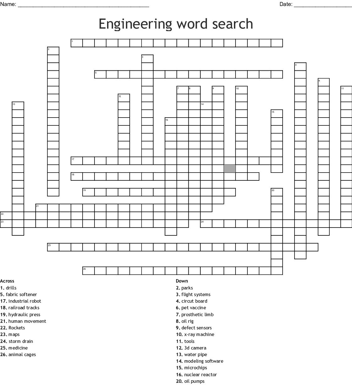 Engineering Word Search Crossword