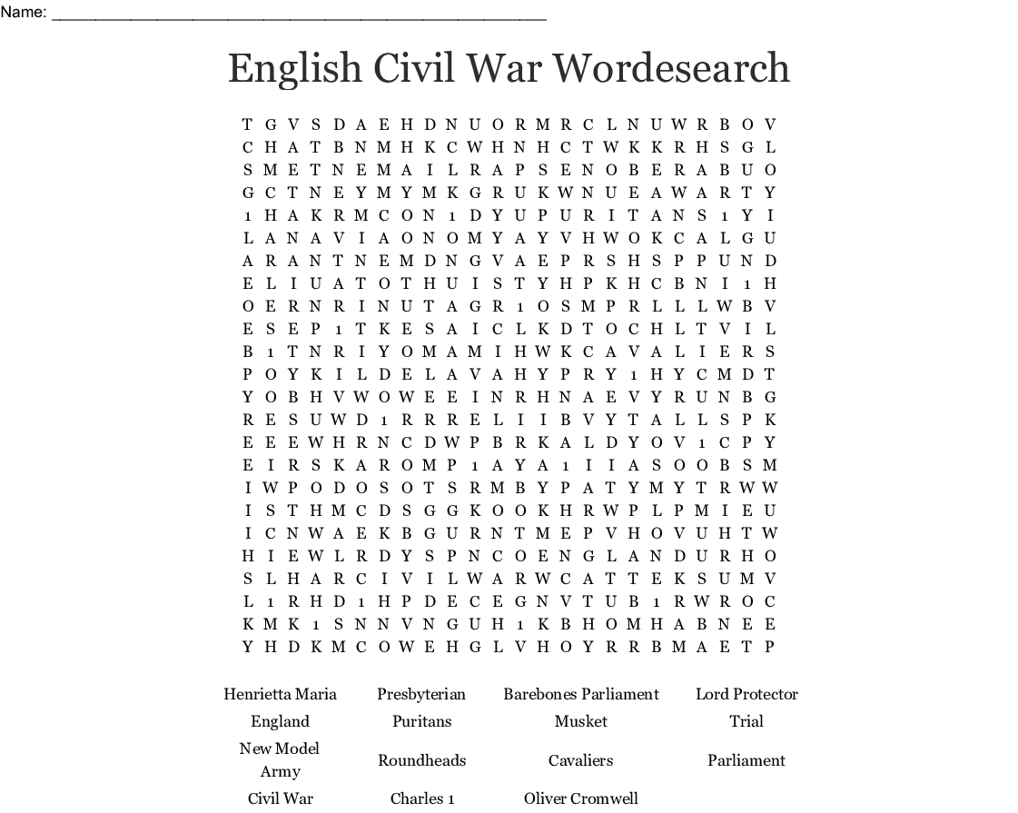 C Civil War Word Search