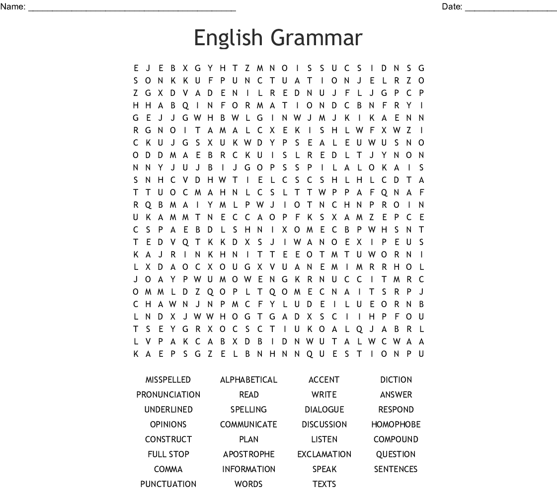 English Grammar Word Search
