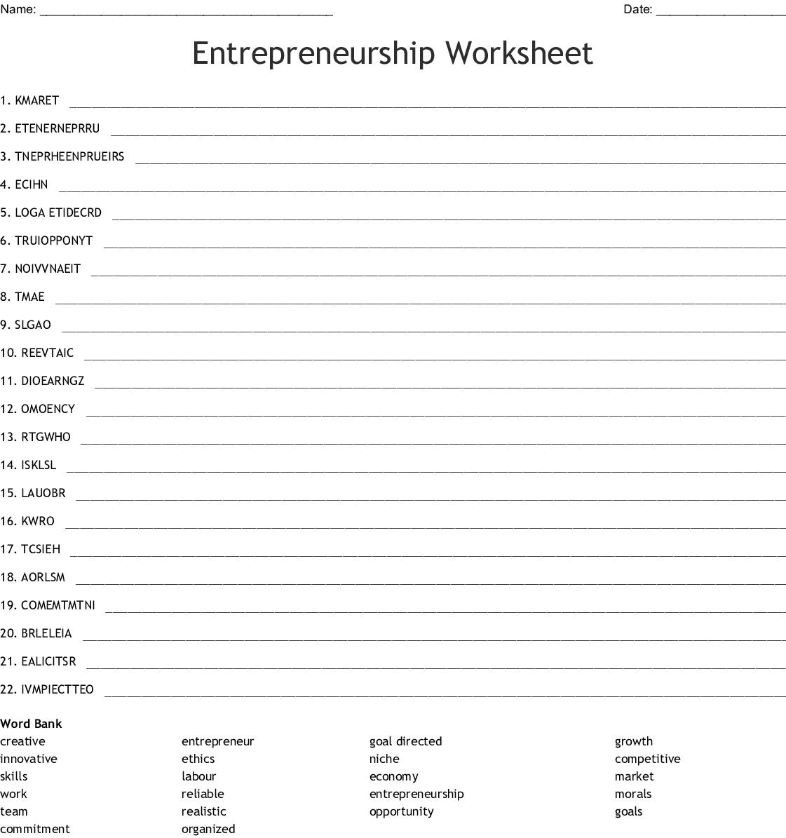 Entrepreneurship Worksheet Word Scramble