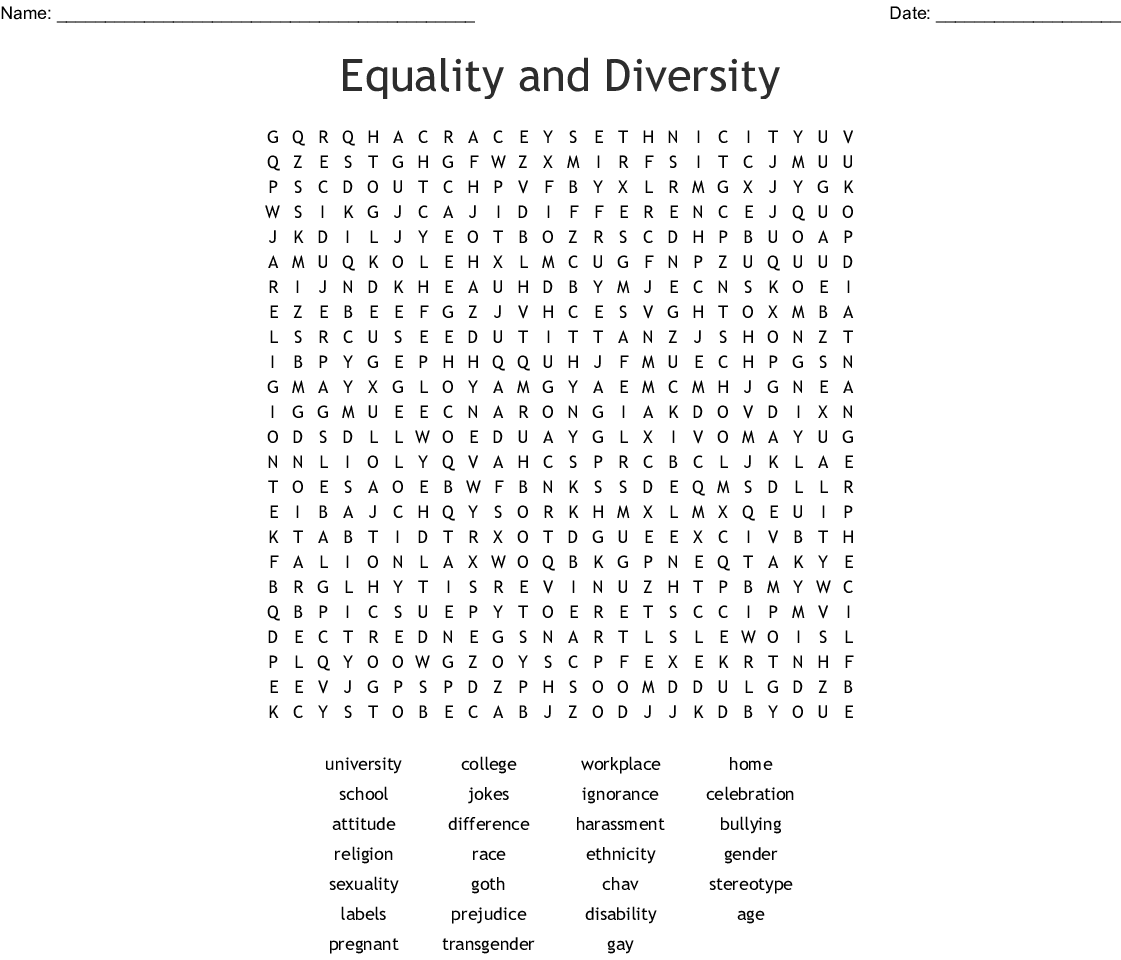 Cultural Diversity Word Search
