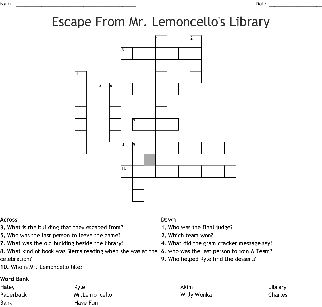 Mr Lemoncello Crossword