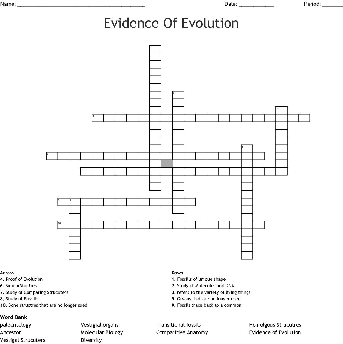 Crossword With Word Bank