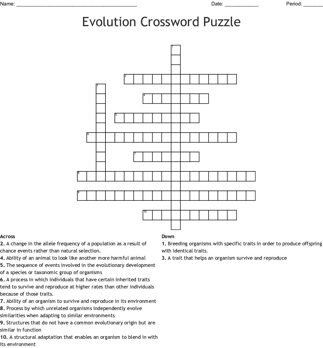 Evolution Wordsearch