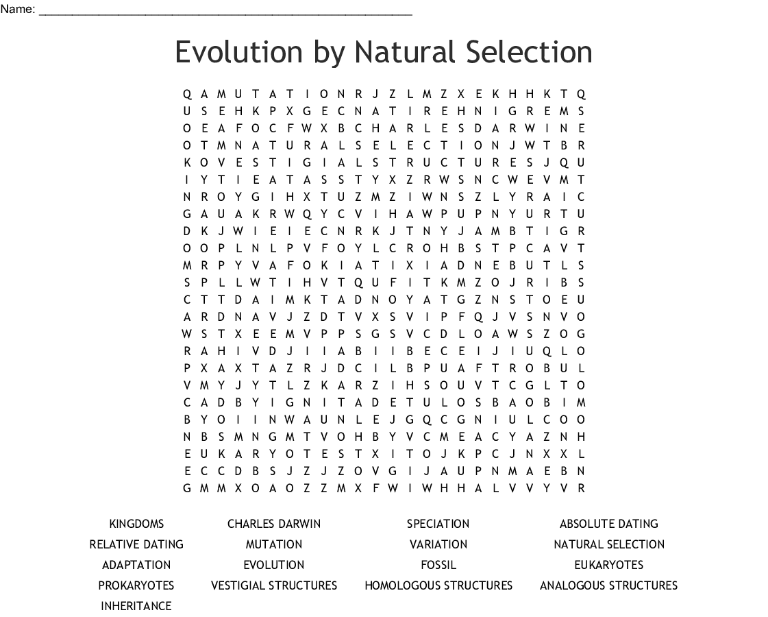 Evolution By Natural Selection Word Search
