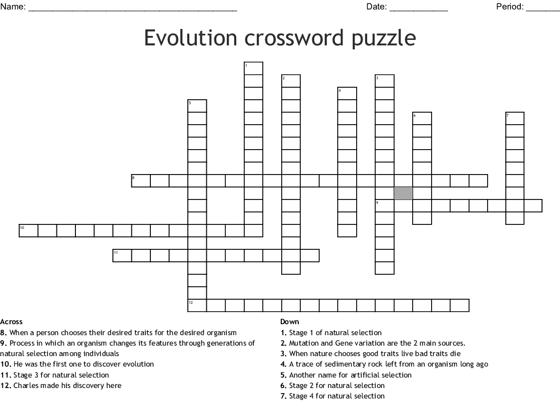 Evolution Crossword Puzzle Crossword
