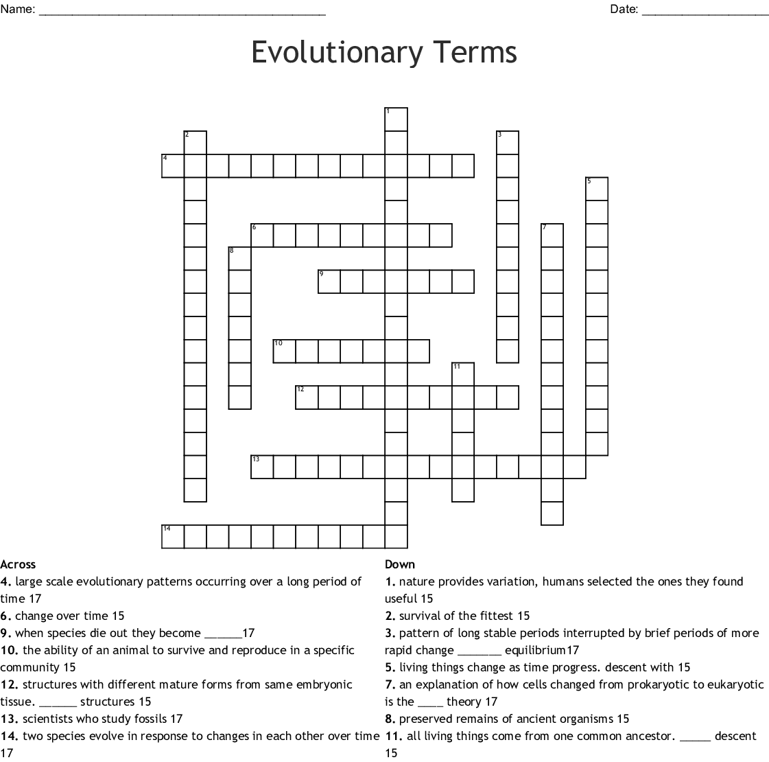 Evolutionary Terms Crossword
