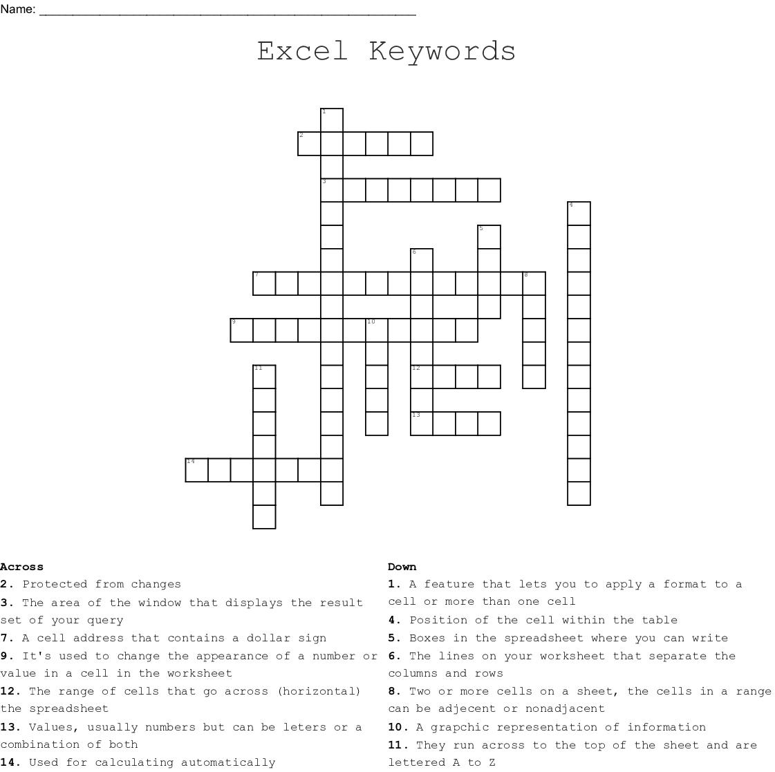Excel Keywords Crossword
