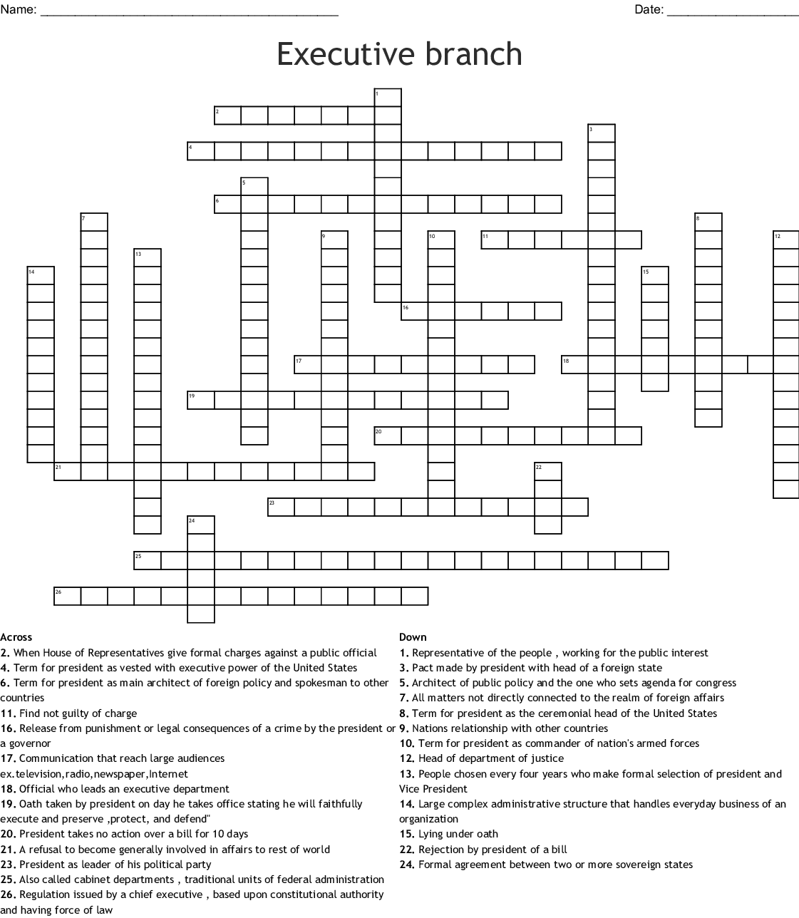 U S Government Crossword