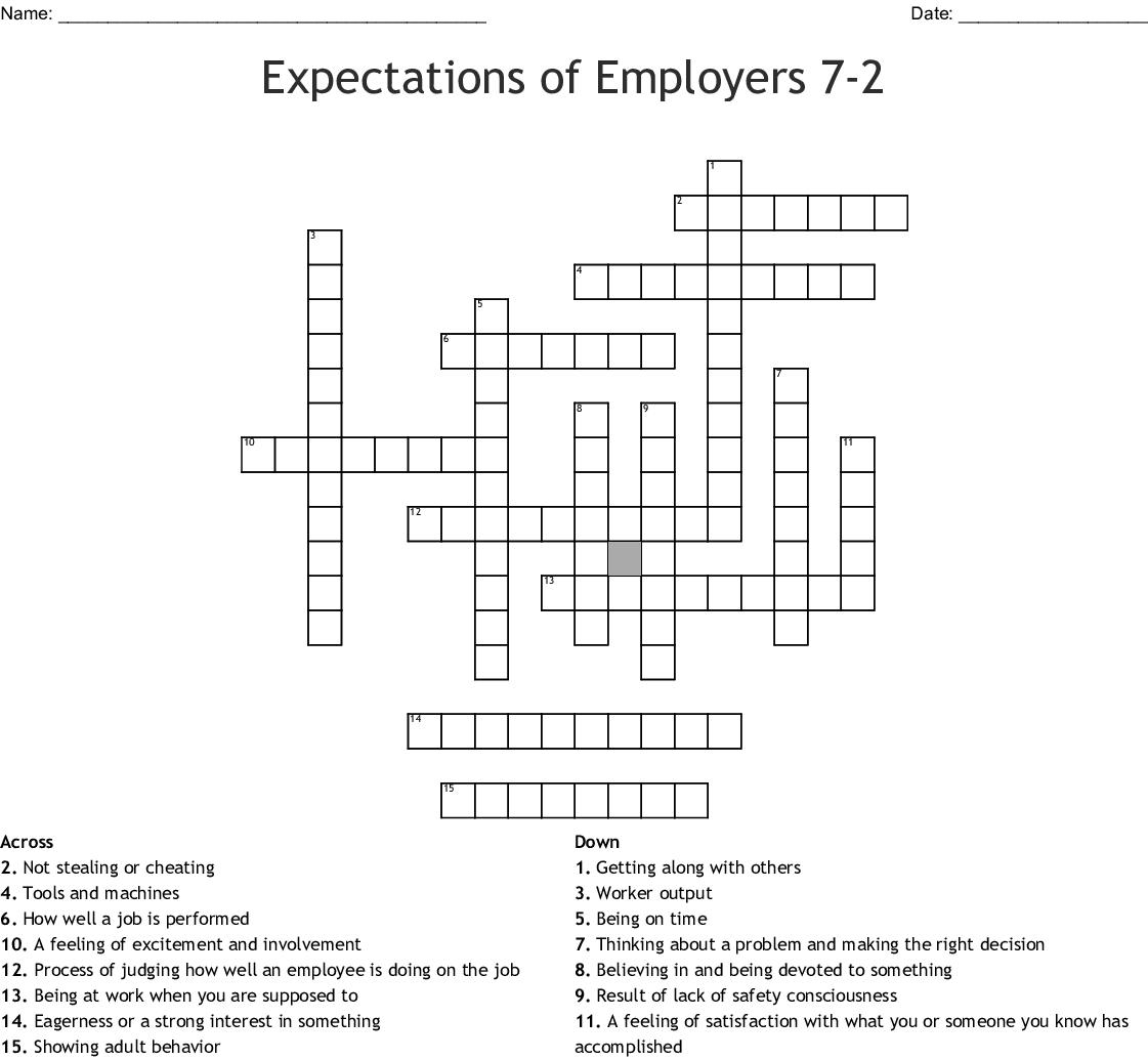 Feelings Adjectives Crossword